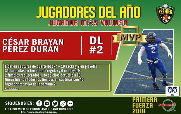 César Brayan Pérez Durán MVP Temporada 2018